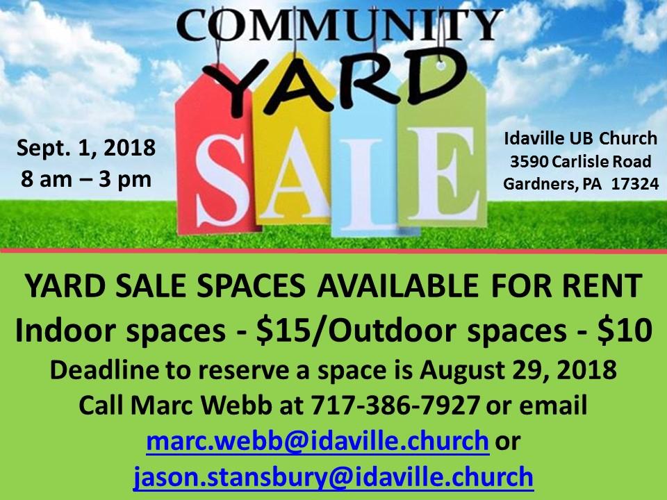 Community Yard Sale – Idaville Church